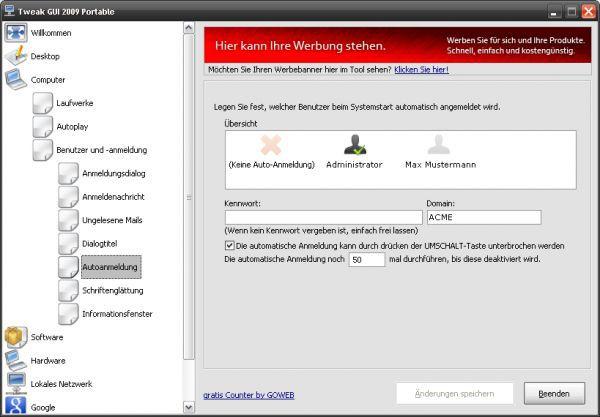 Vorschau Tweak GUI 2009 Portable - Bild 1