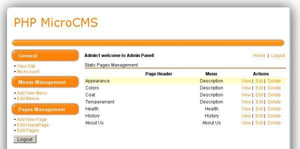 Vorschau PHP MicroCMS - Bild 1