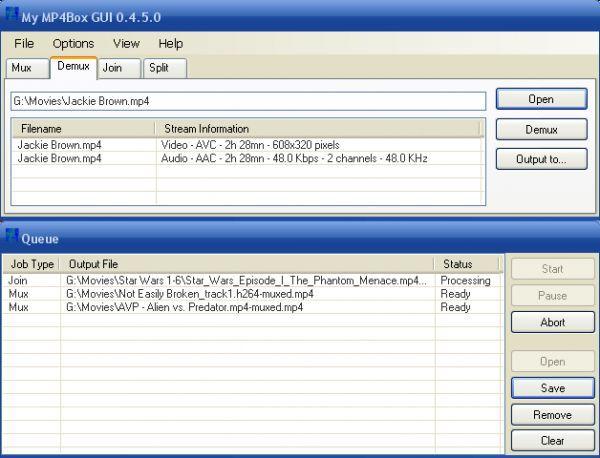 Vorschau My MP4Box GUI - Bild 1