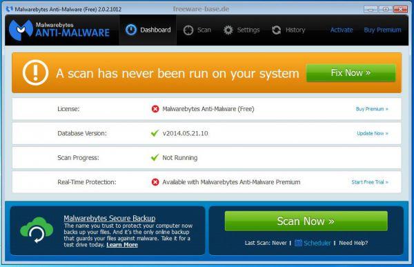 Vorschau Malwarebytes Anti-Malware - Bild 1