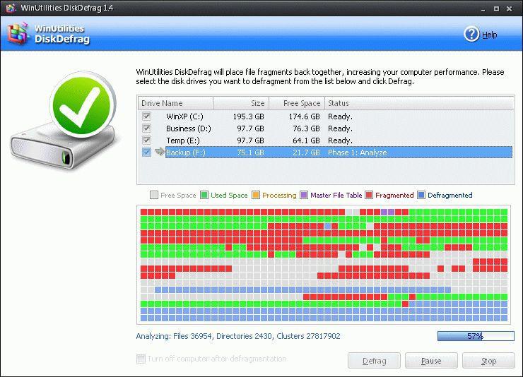 Vorschau WinUtilities Free Disk Defragmenter - Bild 1
