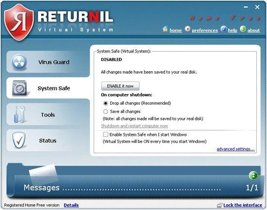 Vorschau Returnil Virtual System 2011 Home Free - Bild 1