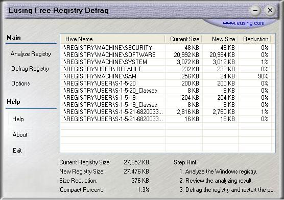 Vorschau Eusing Free Registry Defrag - Bild 1