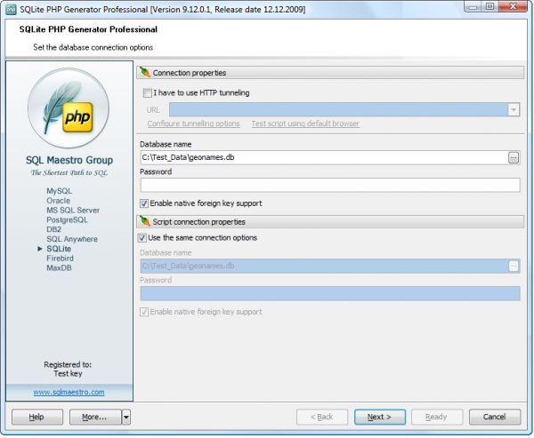 Vorschau SQLite PHP Generator - Bild 1
