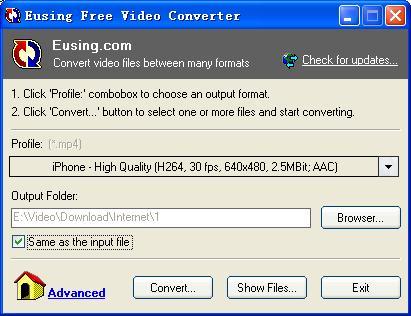 Vorschau Eusing Free Video Converter - Bild 1