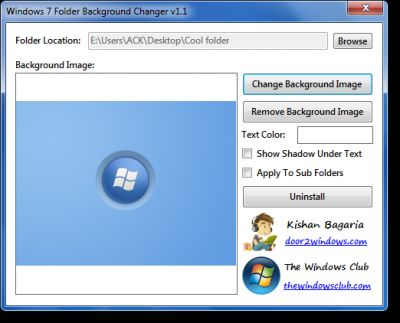 Vorschau Windows 7 Folder Background Changer - Bild 1