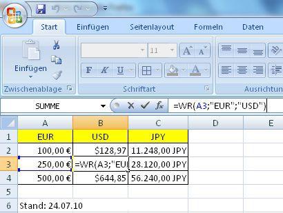 Vorschau Excel Waehrungsrechner - Bild 1