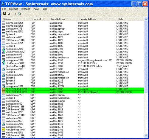 Vorschau Sysinternals TCPView - Bild 1
