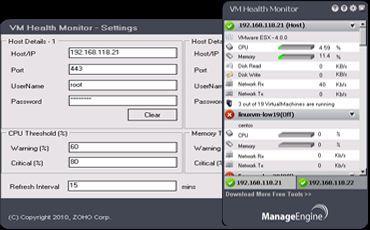 Vorschau ManageEngine VM Health Monitor - Bild 1