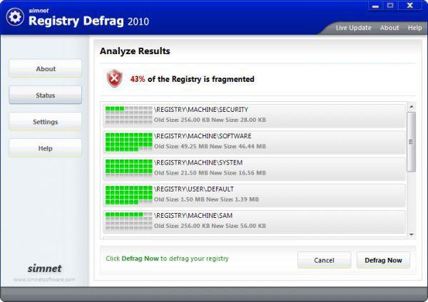 Vorschau Simnet Registry Defrag 2011 - Bild 1