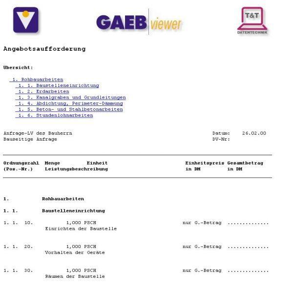 Vorschau GAEB-Viewer - Bild 1