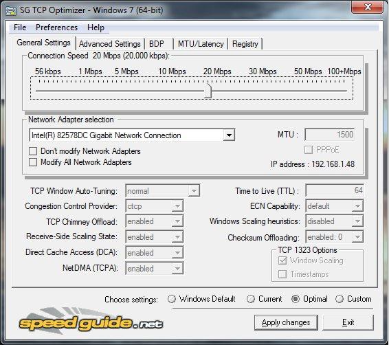 Vorschau SpeedGuide TCP Optimizer - Bild 1