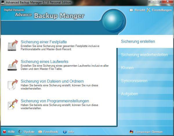 Vorschau Advanced Backup Manager - Bild 1