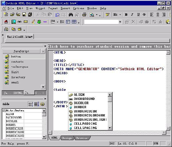 Vorschau Sothink HTML Editor - Bild 1