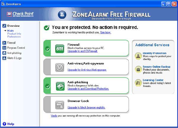 Vorschau ZoneAlarm Free Firewall - Bild 1