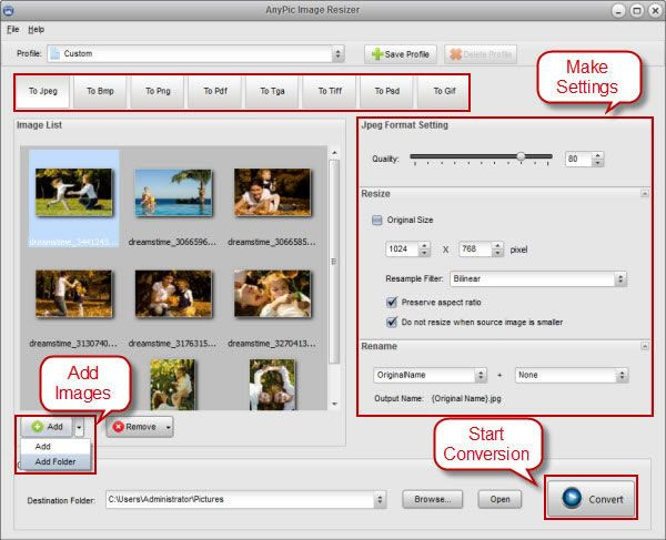 Vorschau AnyPic Image Resizer Free - Bild 1