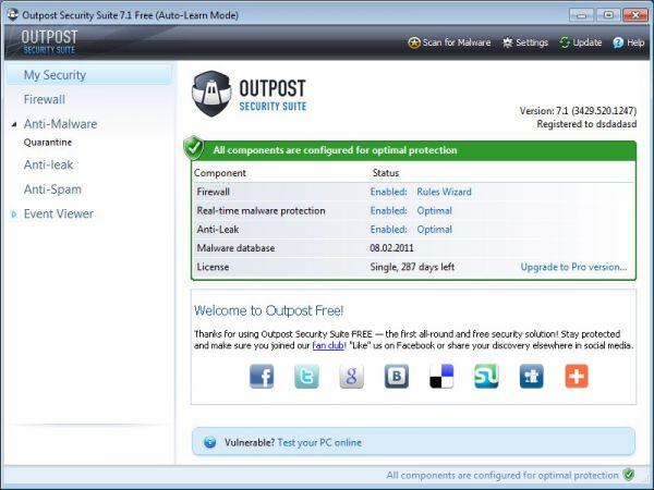 Vorschau Agnitum Outpost Security Suite Free - Bild 1
