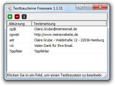 Vorschau Textbausteine Freeware - Bild 1