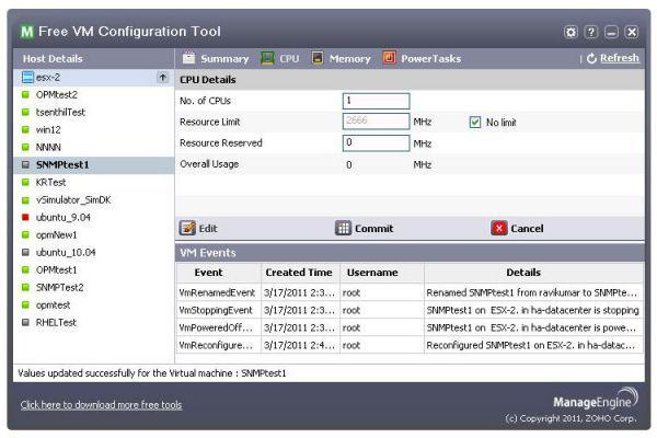 Vorschau Free ManageEngine VM Configuration Tool - Bild 1