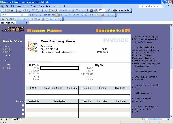 Vorschau Excel Invoice Template - Bild 1