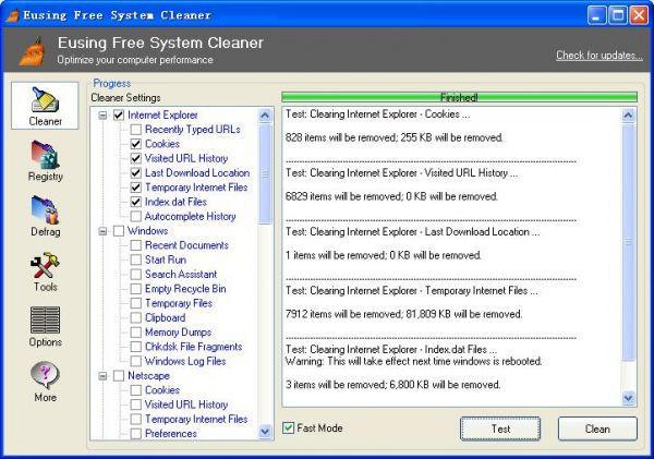 Vorschau Eusing Free System Cleaner - Bild 1
