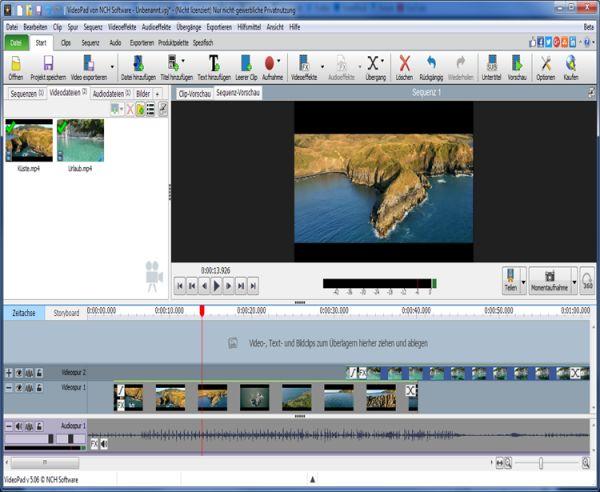 Vorschau VideoPad Kostenloser Video-Editor - Bild 1