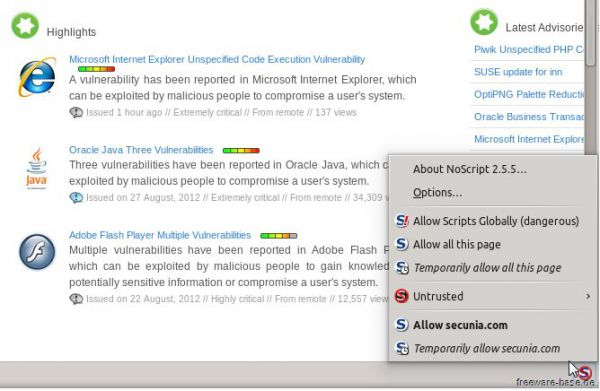 Vorschau NoScript for Firefox - Bild 1