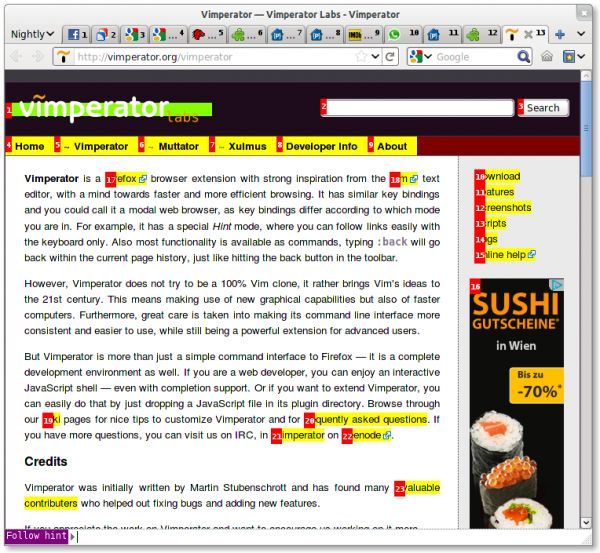 Vorschau Vimperator for Firefox - Bild 1