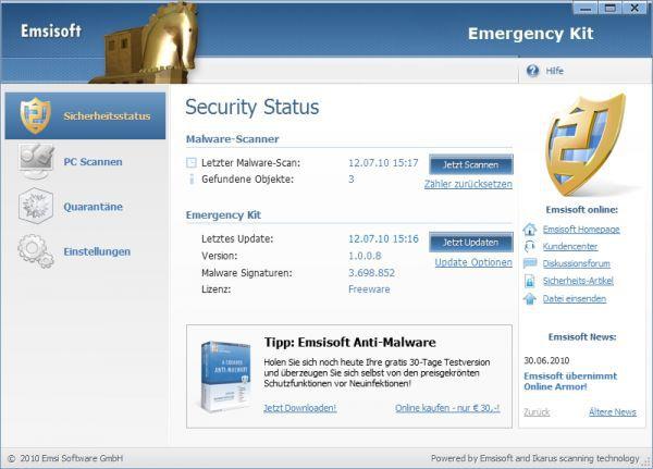 Vorschau Emsisoft Free Emergency Kit - Bild 1