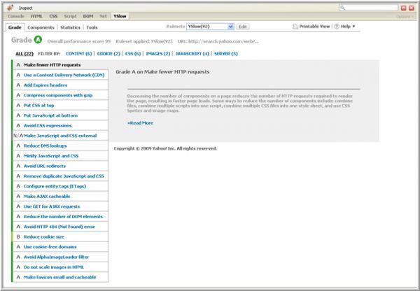 Vorschau YSlow for Firefox - Bild 1