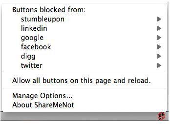 Vorschau ShareMeNot for Firefox - Bild 1