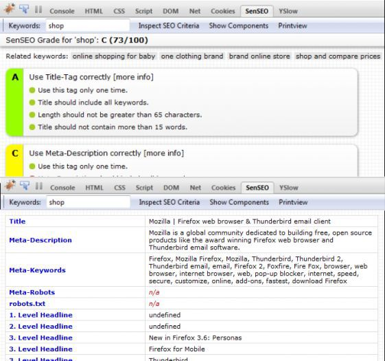 Vorschau SenSEO for Firefox - Bild 1