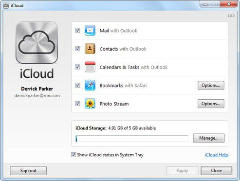 Vorschau iCloud Control Panel for Windows - Bild 1