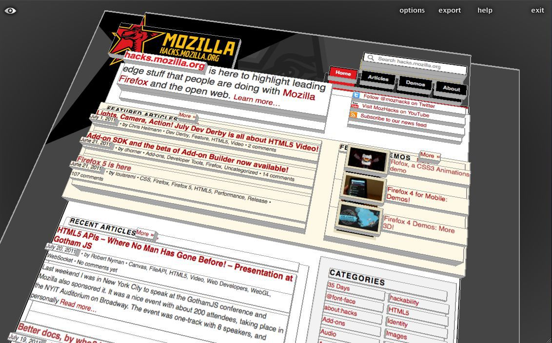 Vorschau Tilt 3D for Firefox Browser - Bild 1