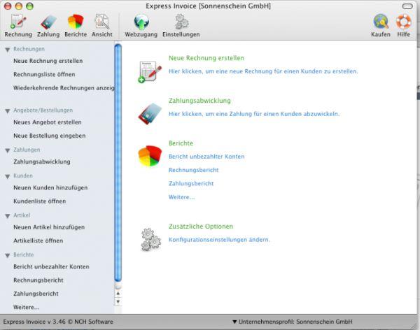 Vorschau Express Invoice fuer Mac kostenlos - Bild 1