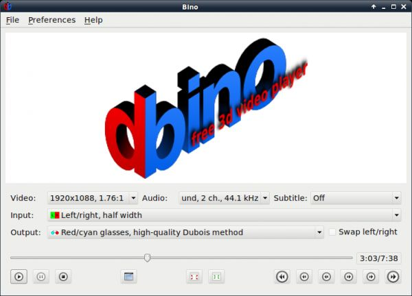 Vorschau Bino free 3D video player - Bild 1