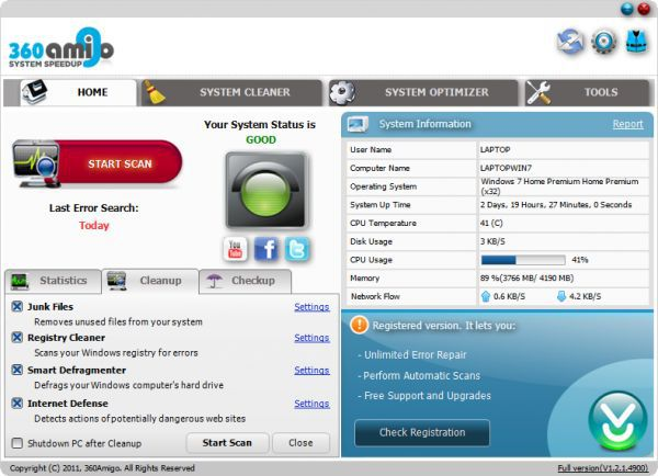 Vorschau 360Amigo System Speedup Free - Bild 1