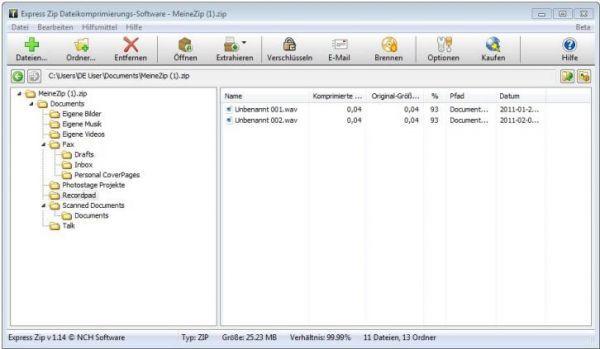 Vorschau Express Zip Datei-Komprimierungssoftware - Bild 1