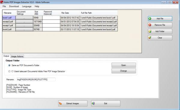 Vorschau Free PDF Image Extractor 4dots - Bild 1