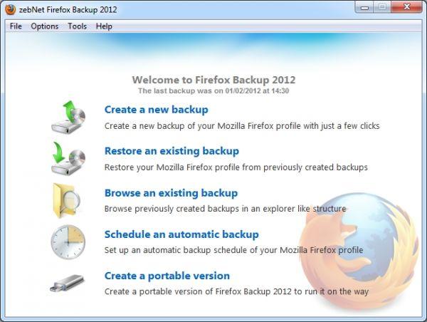 Vorschau zebNet Firefox Backup 2012 Free Edition - Bild 1