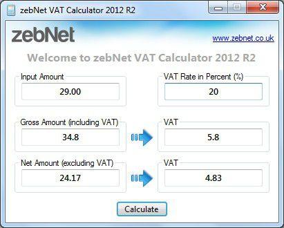 Vorschau zebNet VAT Calculator TNG - Bild 1