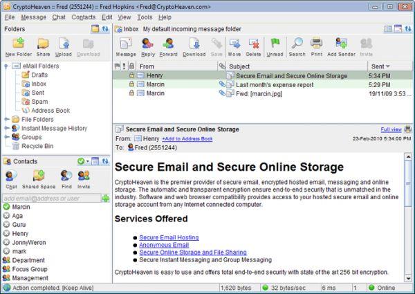 Vorschau Secure Email CryptoHeaven - Bild 1