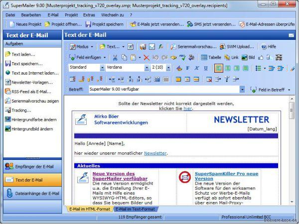 Vorschau Newsletter Software SuperMailer - Bild 1