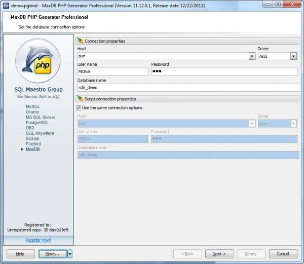 Vorschau MaxDB PHP Generator - Bild 1
