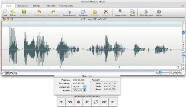 Vorschau WavePad Gratis Audio-Editor for Mac - Bild 1