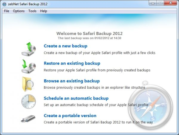 Vorschau zebNet Safari Backup 2012 - Bild 1