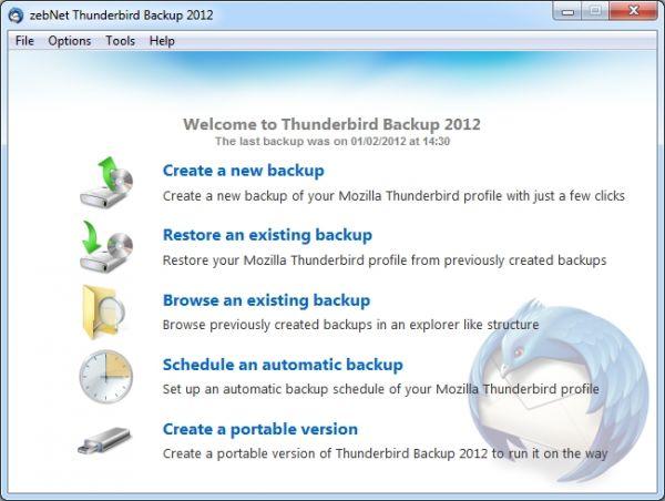 Vorschau zebNet Thunderbird Backup 2012 - Bild 1