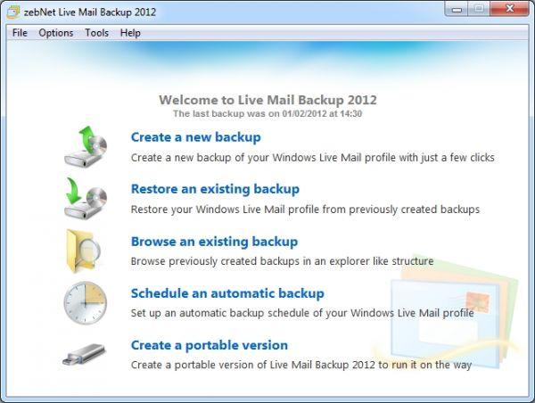 Vorschau zebNet Live Mail Backup 2012 - Bild 1