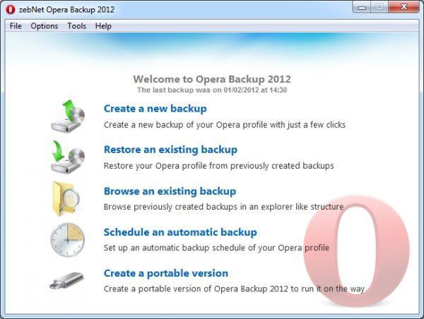 Vorschau zebNet Opera Backup 2012 - Bild 1