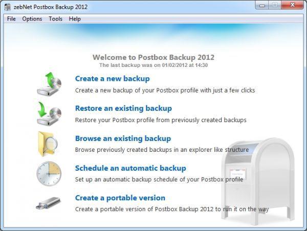Vorschau zebNet Postbox Backup 2012 - Bild 1